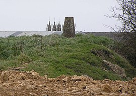 Geograph 2141776 Dundry trig point and church.jpg