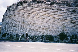 Stratigraphy - Chalk layers in Cyprus, showing sedimentary layering