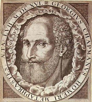 George Chapman - George Chapman. Frontispiece engraving for The Whole Works of Homer (1616) attributed to William Hole