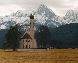 Bavarian church with Alps in the background