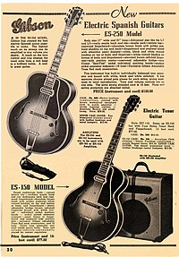 A vintage magazine advertisement for Gibson guitar and combination speaker cabinet/amplifiers is shown.