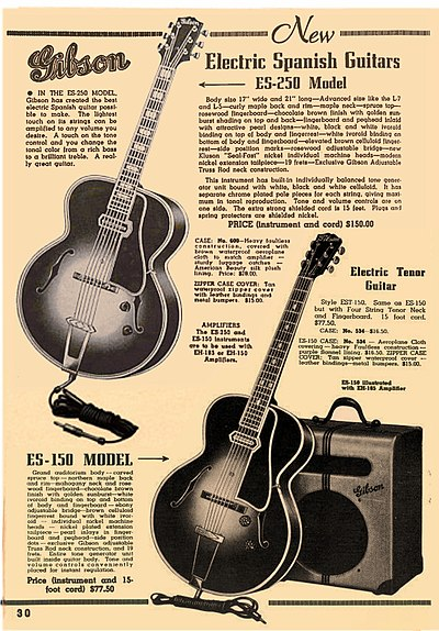 A 1939-1940 ad for Gibson, including promotion for their EH-185 combo amp. Gibson ES-250, ES-150 with EH-185 amp - magazine advertisement in 1939-1940.jpg