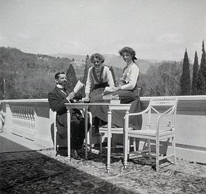 Pierre Gilliard - Pierre Gilliard with his pupils, Grand Duchess Olga Nikolaevna of Russia and Grand Duchess Tatiana Nikolaevna of Russia at Livadia in 1911. Courtesy: Beinecke Library.