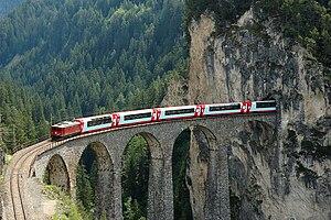 Glacier Express - Glacier Express on the Landwasser Viaduct