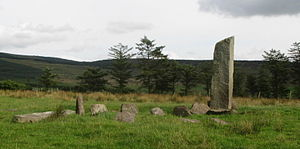 Glantane East - View of the standing stone at Glantane