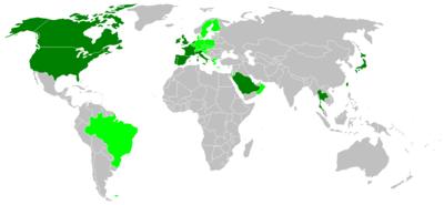 濃い緑色の地域は変異型クロイツフェルト·ヤコブ病、淡い緑色の地域は牛海... クロイツフェルト・