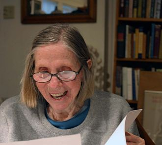 """Barbara Guest - Photograph by Gloria Graham during the video taping of """"Add-Verse"""", 2003"""