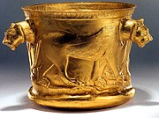 Achaemenid golden bowl with lion imagery