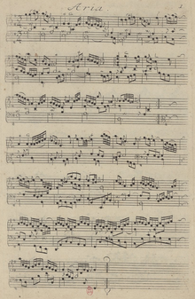 """""""Aria"""" of the Goldberg Variations, showing Bach's use of ornaments (Source: Wikimedia)"""