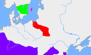 Gothiscandza - The red area is the extent of the Wielbark Culture in the first half of the 3rd century. The dark pink area is Gotland and the green area is the traditional extent of Götaland