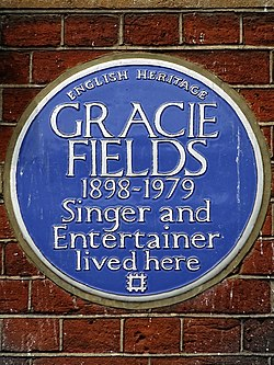 Gracie fields 1898 1979 singer and entertainer lived here