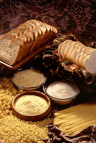 Some essential food products including bread, rice and pasta GrainProducts.jpg