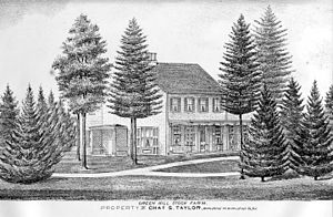 Green Hill Farm - 1876 Print of the main house at Green Hill Farm.