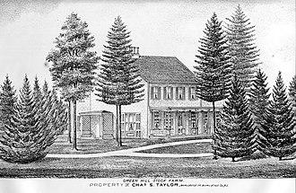 Green Hill Farm - 1876 Print of the main house at Green Hill Farm.
