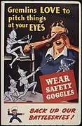 Gremlins love to pitch things at your eyes. Wear safety goggles. Back up our battleskies^ - NARA - 535379.jpg