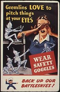Os gremlins adoram lançar coisas na sua cara.  Use óculos de proteção.  Faça backup de nossos combates ^ - NARA - 535379.jpg