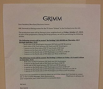Grimm (TV series) - Production notice posted in Portland in October 2013