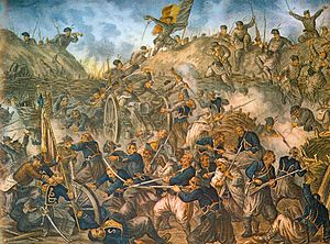 Grivitsa - Romanian troops storming the Grivitsa redoubt during the Romanian War of Independence of 1877–1878