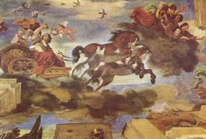 Aurora (mythology) - Aurora, by Guercino, 1621-23: the ceiling fresco in the Casino Ludovisi, Rome, is a classic example of Baroque illusionistic painting
