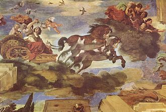 Aurora (mythology) - Aurora, by Guercino, 1621–1623: the ceiling fresco in the Casino Ludovisi, Rome, is a classic example of Baroque illusionistic painting