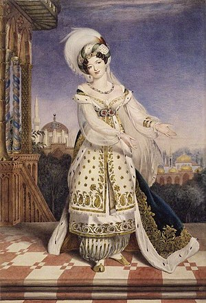 Giuseppina Ronzi de Begnis - Portrait of Guiseppina de Begnis as Fatima in Rossini's oratorio Pietro L' Eremita, London 1828, by Alfred Chalon