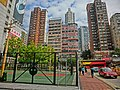 HK Yau Ma Tei Public Square Street Arthur Street name sign view Nathan Road building facades Feb-2014 basketball court.JPG