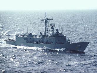 HMAS Adelaide (FFG 01) - Adelaide underway in 1982