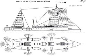 HMAS Protector (1884) - Starboard elevation and deck plan, 1888