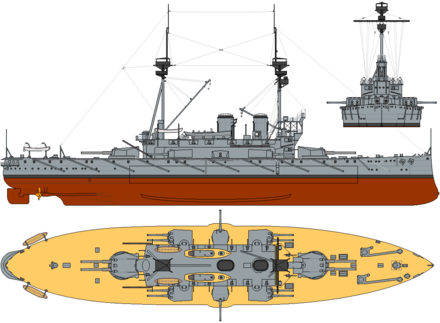HMS Agamemnon, an all-big-gun mixed-calibre ship of the Lord Nelson class. It carried four 12-inch (305 mm) and ten 9.2-inch (234 mm). HMS Agamemnon (1908) profile drawing.png