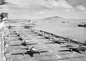 HMS Eagle (R05) flight deck at Gibraltar c1953.jpg