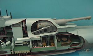 Armstrong Whitworth 12 inch /40 naval gun - Image: HMS M1 submarine model turret