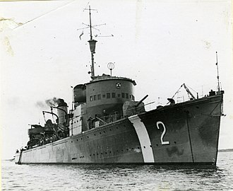 HSwMS Nordenskjöld - Nordenskjöld during the World World II with white neutrality bands and pennant number 2.