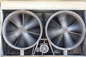 English: A huge double HVAC exhaust of an offi...