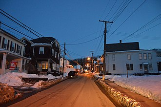 Brownstown, Cambria County, Pennsylvania - Houses on Habicht St. at dusk