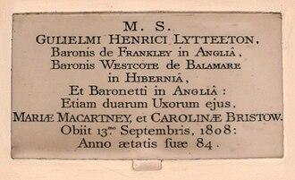 William Lyttelton, 1st Baron Lyttelton - St John the Baptist Church, Hagley, memorial to William Lyttelton, 1st Baron Lyttelton (1724–1808)