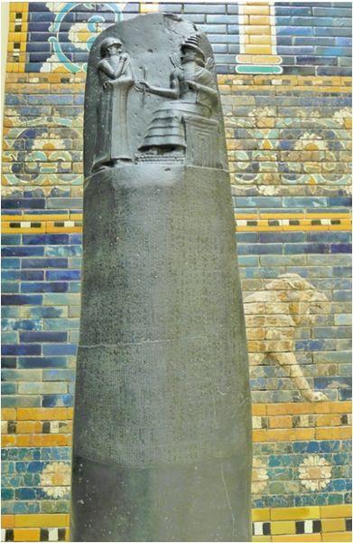 File:Hammurabi Stele (copy) in front of Ishtar gate.jpg