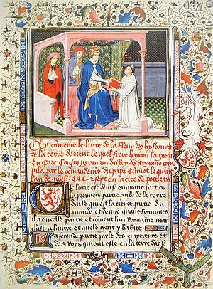 Pope Clement V - Hayton of Corycus remitting his report on the Mongols La Flor des Estoires d'Orient, to Pope Clement V in 1307.