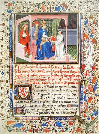 Oriental studies - Hayton of Corycus remitting his report on the Mongols, to Pope Clement V, in 1307