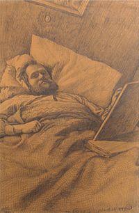 Heinrich (Henri) Ebel, Autoportrait - couché au lit (Selbstbildnis - im Bett liegend).jpg