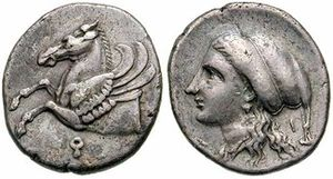 Koppa (letter) - Corinthian hemiobol. Obverse: Pegasus with koppa beneath, for Corinth. Reverse: Aphrodite wearing a sakkos headband.