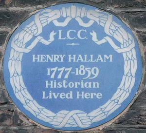 Henry Hallam - A blue plaque at 67 Wimpole Street in London commemorating Hallam