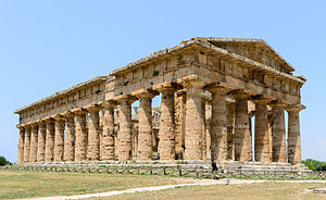 Temple of Zeus, Olympia - The Second Temple of Hera at Paestum which was closely modelled on the Olympian Temple of Zeus