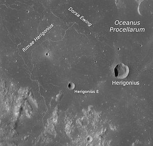 Dorsa Ewing - Dorsa Ewing is on the top of the photo depicting Herigonius crater