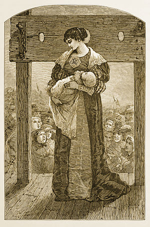 The Scarlet Letter - Hester Prynne at the stocks, an engraved illustration from an 1878 edition