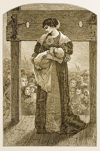 Punishment - Hester Prynne at the Stocks - an engraved illustration from an 1878 edition of The Scarlet Letter