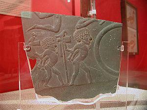Battlefield Palette - Upper fragment, obverse, in the Ashmolean Museum.