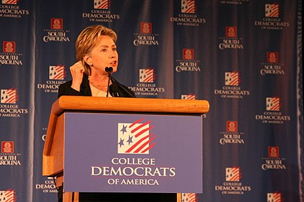 Clinton addresses the 2007 CDA National Convention Hillary Clinton Speaks to College Democrats.jpg