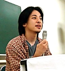 Hiroyuki Nishimura's speech in Sapporo 20050831.jpg