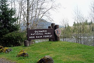 Hoh Rainforest - National Park Service sign at the entrance of the park.