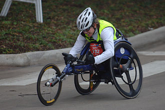Holly Koester incurred a spinal injury as a result of a motor vehicle collision and is now a wheelchair racer. Holly Koester, 2007 Chevron Houston Marathon (357322273).jpg